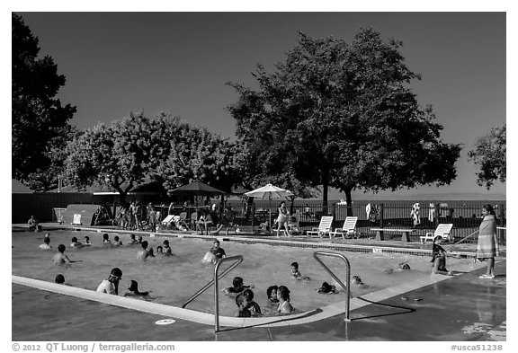 Public swimming pool, McNears Beach County Park. San Pablo Bay, California, USA